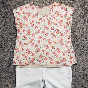 Lane Bryant Peach Floral Combo Top 14/16